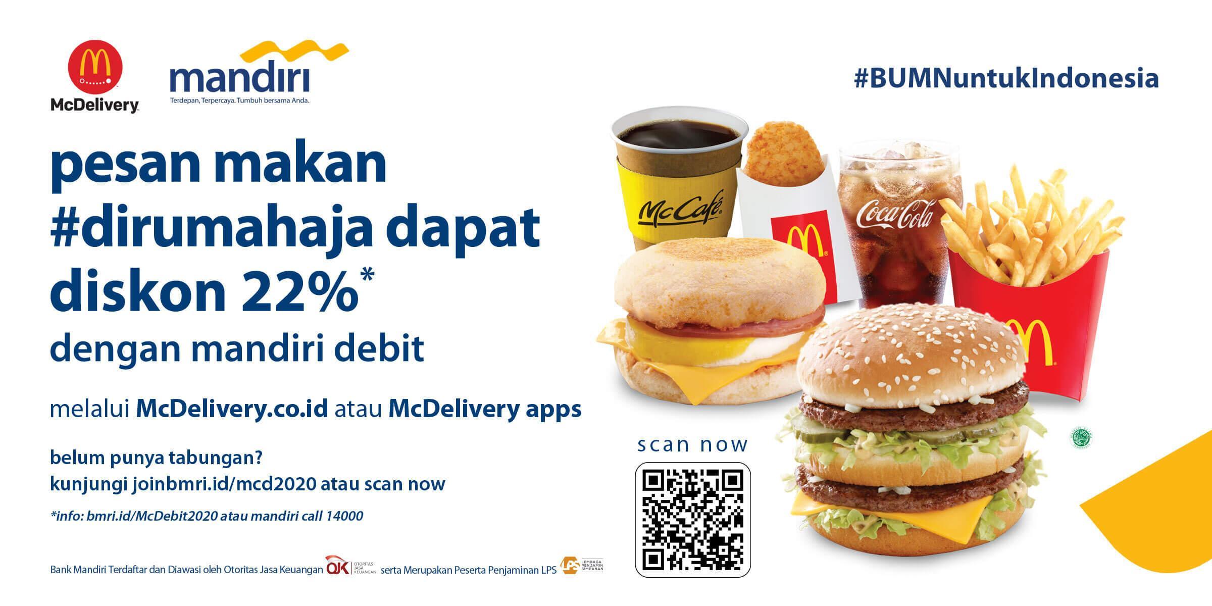 Mcdonald S Indonesia Pesan Makan Dirumahaja Dapat Diskon 22 Dengan Mandiri Debit Berlogo Visa