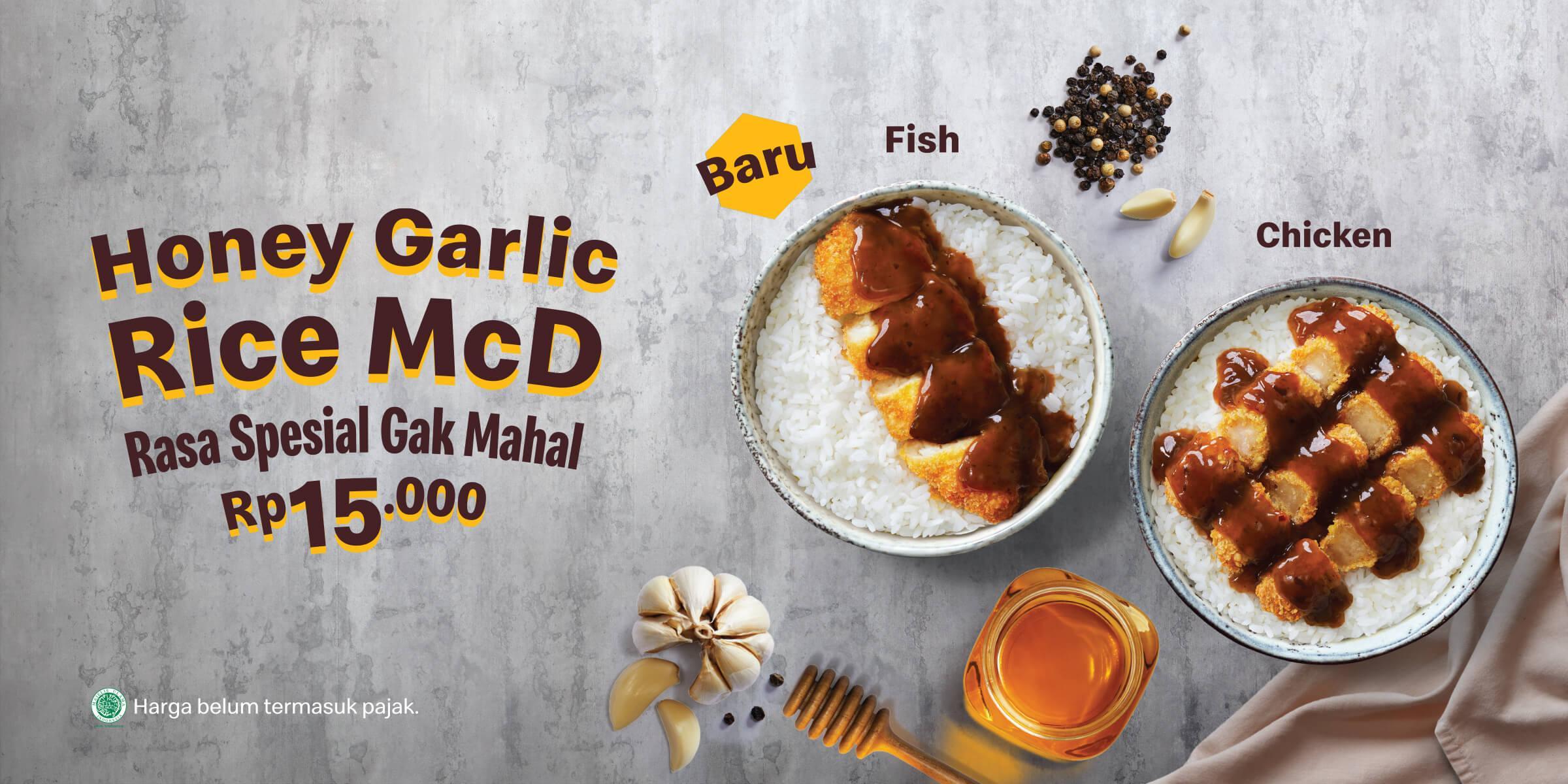 Dapatkan paket nasi dengan tambahan chicken atau fish dengan harga Rp15.000