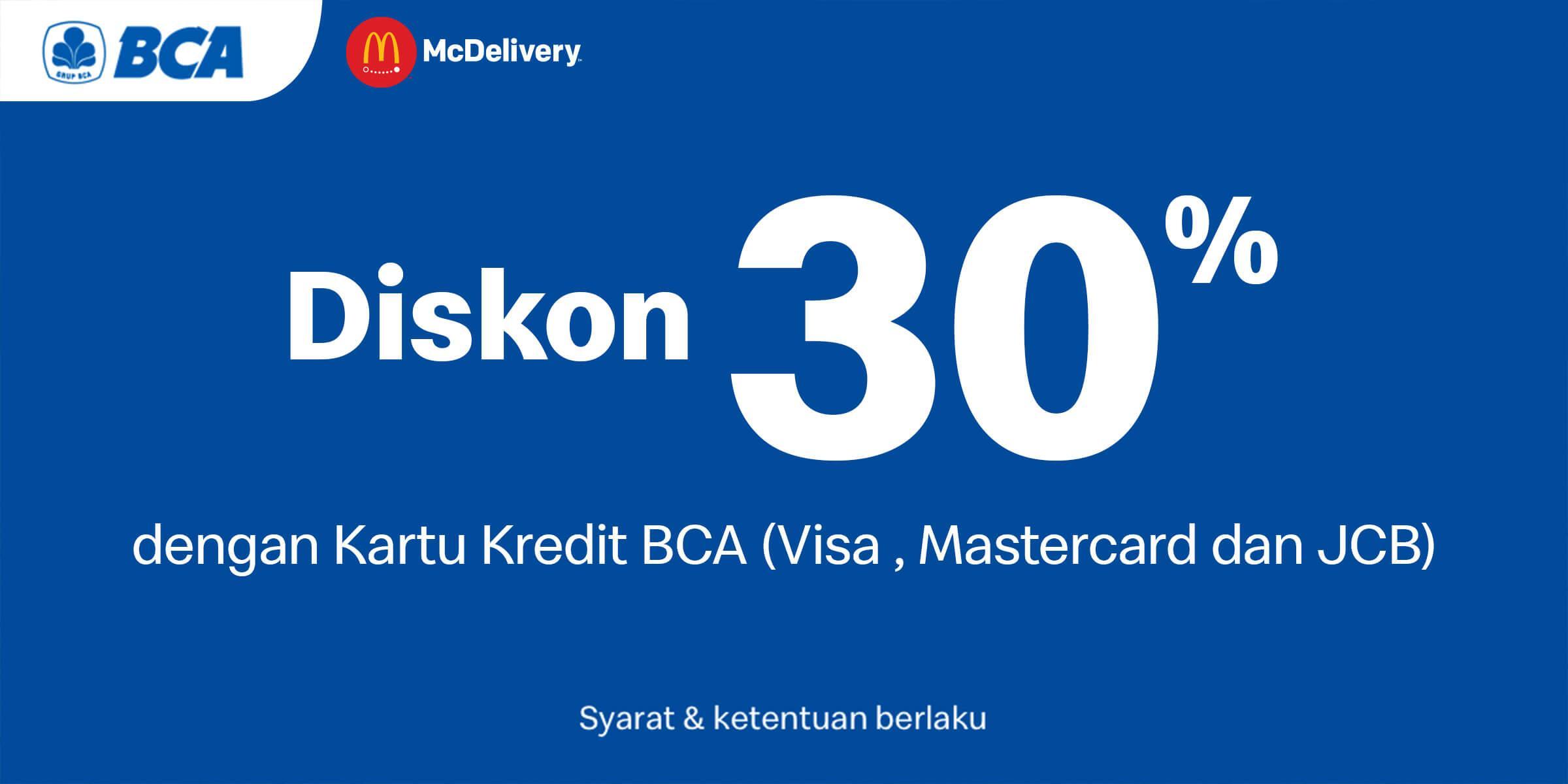 Promo diskon 30% untuk kartu kredit BCA berlogo Visa, Mastercard, dan JCB