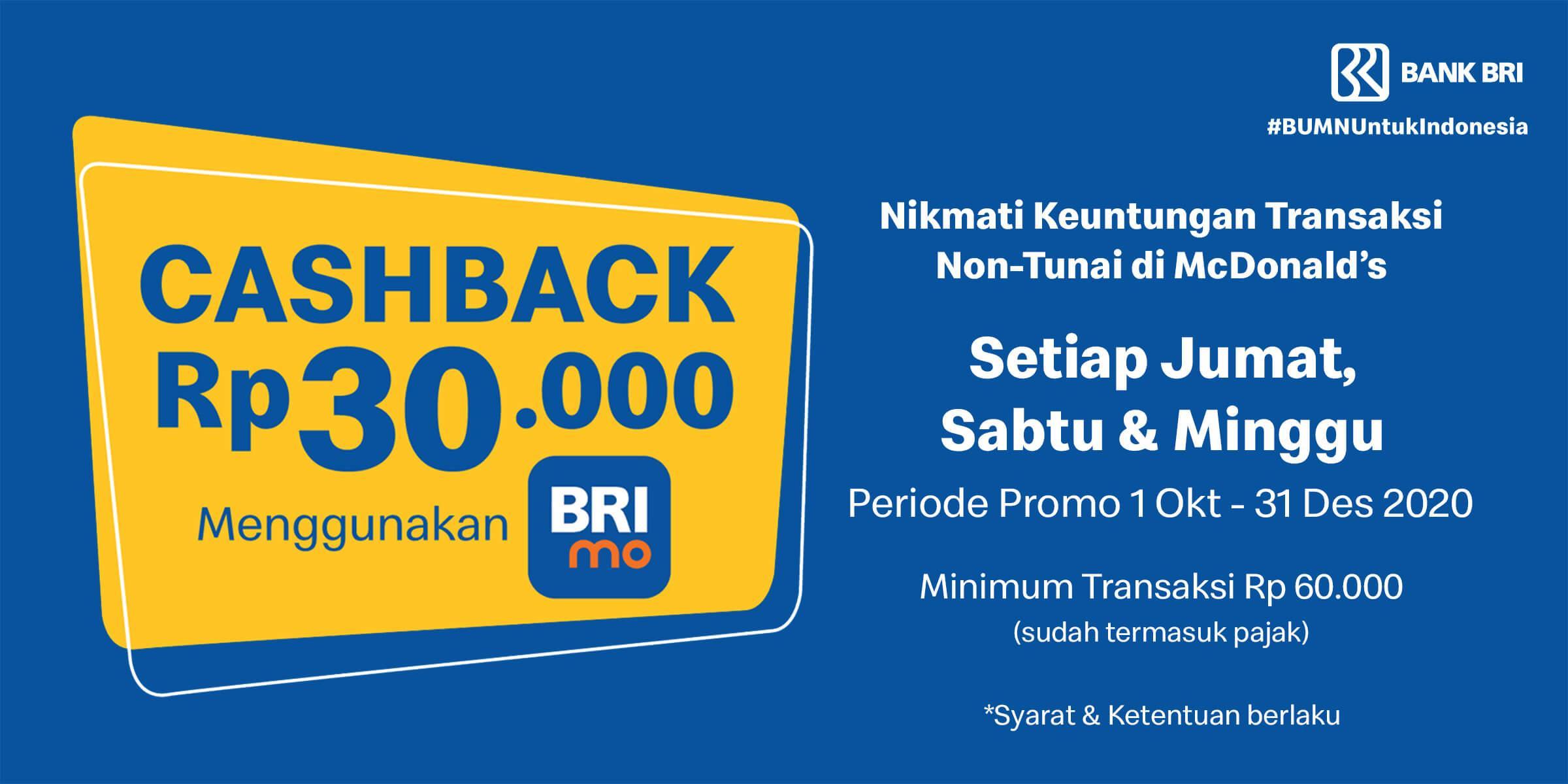 Ada promo cashback Rp30.000 jika menggunakan BRImo