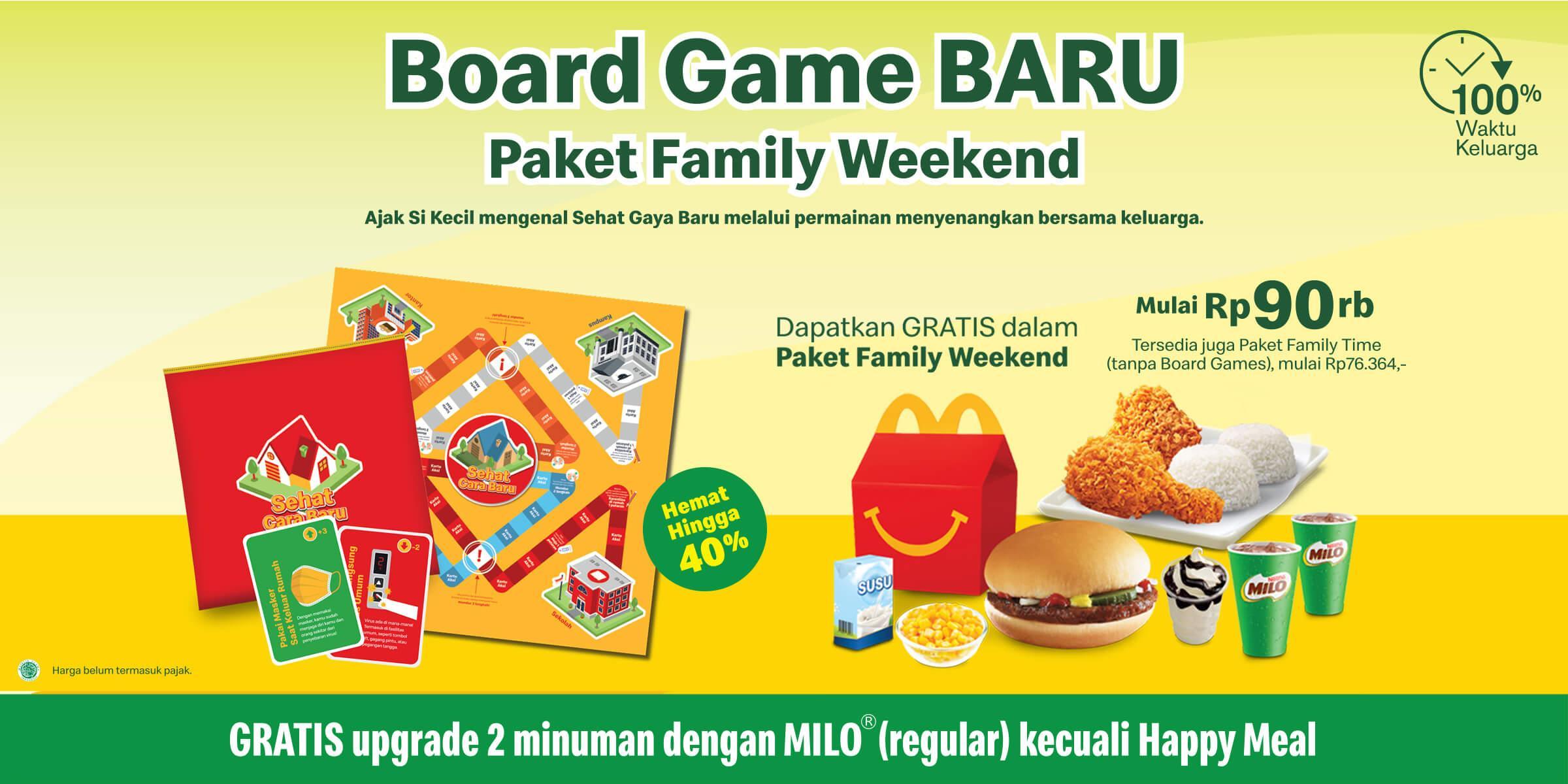 Bonus board games dan diskon 40% dari paket Family Meals McD