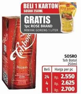 Promo Harga SOSRO Teh Botol Original 250 ml - Lotte Grosir
