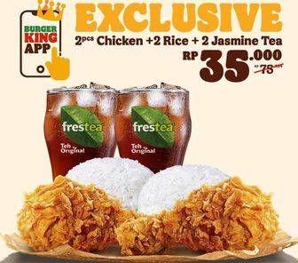 Promo Harga BURGER KING 2 pc Chicken + Rice + Jasmine Tea  - Burger King