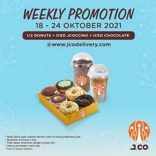 Promo Harga JCO 1/2 lusin JCO DONUTS + Iced JCOCCINO + Iced Chocolate   - JCO