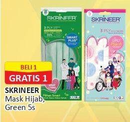Promo Harga SKRINEER Masker Girly Hijab Headloop Motif, Smart Plus Earloop Green 5 pcs - Alfamart