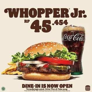Promo Harga BURGER KING Burger Whopper Jr.  - Burger King