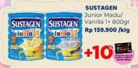 Promo Harga SUSTAGEN Junior 1+ Susu Pertumbuhan Madu, Vanilla 800 gr - Carrefour