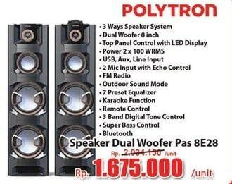 Promo Harga POLYTRON PAS 8E28 Speaker Dual Woofer  - Hari Hari