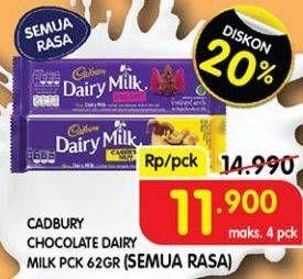 Promo Harga CADBURY Dairy Milk All Variants 62 gr - Superindo