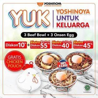 Promo Harga YOSHINOYA 3 Beef Bowl + 3 Onsen Egg  - Yoshinoya