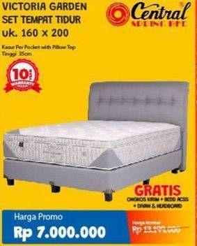 Promo Harga CENTRAL SPRING BED Victoria Garden Bed Set 160x200cm  - Courts