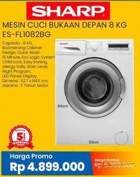 Promo Harga SHARP ES-FL1082   Mesin Cuci Front Load 8kg 8000 gr - Courts