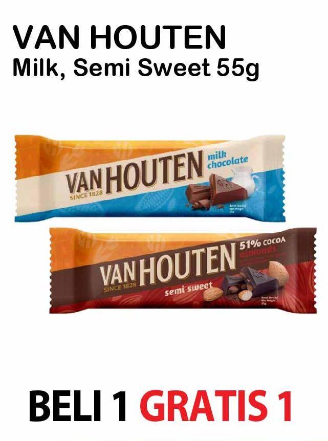 Promo Harga VAN HOUTEN Chocolate Milk Chocolate, Semi Sweet 55 gr - Alfamart