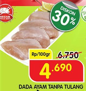 Promo Harga Boneless Dada Ayam per 100 gr - Superindo