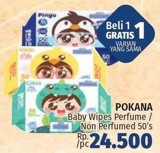 Promo Harga POKANA Baby Wipes Non Parfume, Parfume 50 pcs - LotteMart
