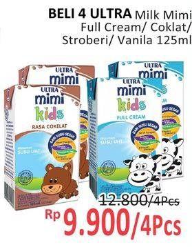 Promo Harga ULTRA MIMI Susu UHT Stroberi, Vanila, Cokelat, Full Cream 125 ml - Alfamidi