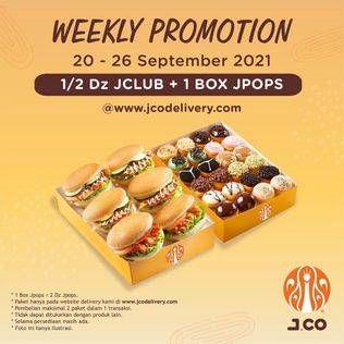 Promo JCO Maksimal 2 paket dalam 1 transaksi; tidak dapat ditukarkan dengan produk lain; selama persediaan masih ada