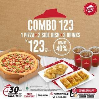 Promo Harga PIZZA HUT 1 Pizza + 2 Side Dish + 3 Drinks  - Pizza Hut
