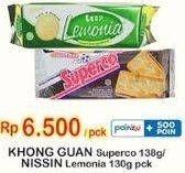 Promo Harga KHONG GUAN KHONG GUAN Superco 138 g/ NISSIN Lemonia 130 g  - Indomaret