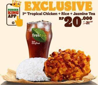 Promo Harga BURGER KING 1 pc Tropical Chicken + Rice + Jasmine Tea  - Burger King