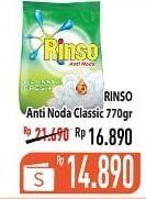 Promo Harga RINSO Anti Noda Deterjen Bubuk Classic Fresh 770 gr - Hypermart