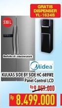 Promo Harga MIDEA HC-689 | Refrigerator Side by Side WE 530000 ml - Hypermart
