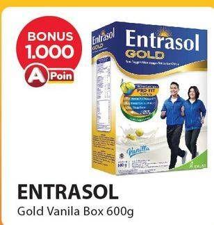 Promo Harga ENTRASOL Gold Susu Bubuk Vanilla 600 gr - Alfamart