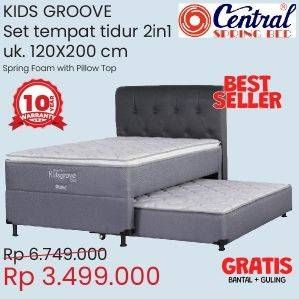 Promo Harga CENTRAL SPRING BED Kids Groove 2 in 1 Bed Set  - Courts