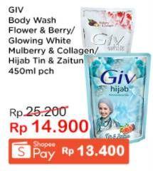 Promo Harga GIV Body Wash Mulbery Colagen, Passion Flowers Sweet Berry, Hijab Tin Zaitun 450 ml - Indomaret
