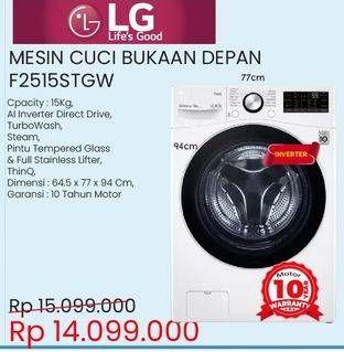 Promo Harga LG Mesin Cuci Front Load F2515STGW  - Courts