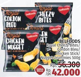 Promo Harga BELFOODS Royal Nugget Chicken Nugget Stick, Cordon Bleu, Cheezy Bites, Chicken Nugget Drummies 500 gr - LotteMart