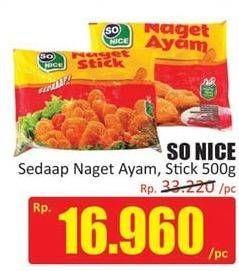 Promo Harga SO NICE Sedaap Chicken Nugget Stick 500 gr - Hari Hari