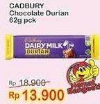 Promo Harga CADBURY Dairy Milk Durian 62 gr - Indomaret