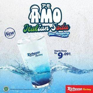 Promo Harga RICHEESE FACTORY Amo Float Italian Soda Blue Raspberry  - Richeese Factory