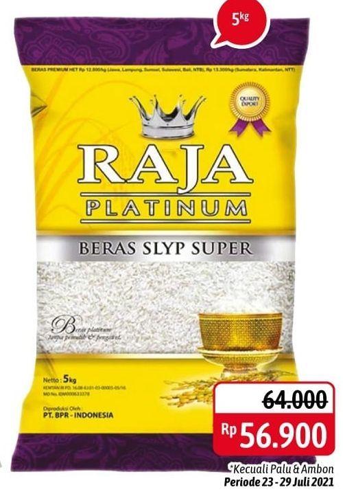 Promo Harga RAJA Platinum Beras Slyp Super 5000 gr - Alfamidi