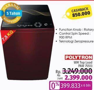 Promo Harga POLYTRON PAW 75513 | Mesin Cuci 7.5kg  - LotteMart