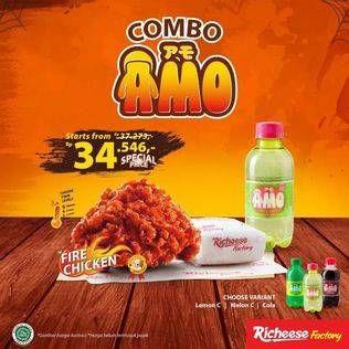 Promo Harga RICHEESE FACTORY Combo Amo 1 Fire Chicken + 1 Nasi + 1 Amo Drink  - Richeese Factory