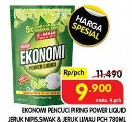 Promo Harga EKONOMI Pencuci Piring Power Liquid Jeruk Nipis, Siwak Jeruk Limau 760 ml - Superindo