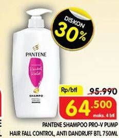 Promo Harga PANTENE Shampoo Hair Fall Control, Anti Dandruff 750 ml - Superindo