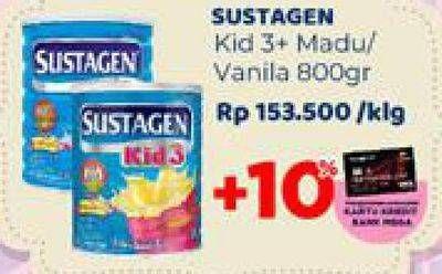 Promo Harga SUSTAGEN Kid 3+ Susu Pertumbuhan Vanilla, Madu 800 gr - Carrefour