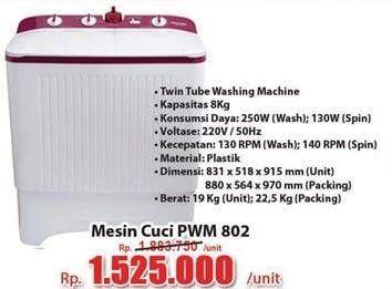 Promo Harga POLYTRON PWM 802 Mesin Cuci 2 Tabung  - Hari Hari