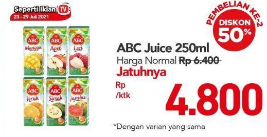 Promo Harga ABC Juice Sirsak, Guava, Mango, Orange, Apple, Lychee 250 ml - Carrefour