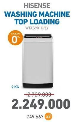 Promo Harga HISENSE WTAS901G Mesin Cuci Top Loading 9 kg - Electronic City