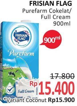 Promo Harga FRISIAN FLAG Susu UHT Purefarm Full Cream, Swiss Chocolate 900 ml - Alfamidi