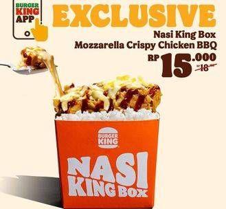 Promo Harga BURGER KING Nasi King Box Mozzarela Crispy Chicken BBQ Sauce  - Burger King