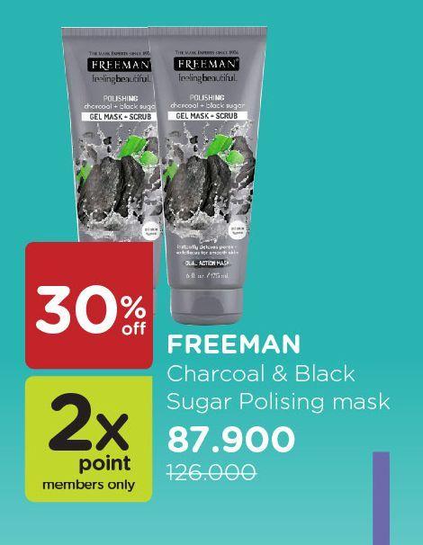 Promo Harga FREEMAN Mask Charcoal + Black Sugar 175 ml - Watsons