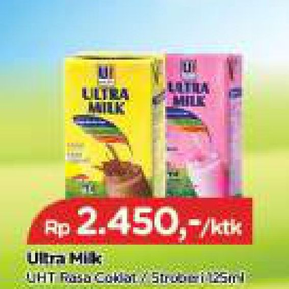 Promo Harga ULTRA MILK Susu UHT Coklat, Stroberi 125 ml - TIP TOP