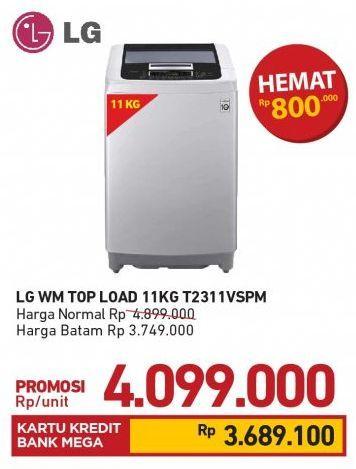 Promo Harga LG T2311VSPM Mesin Cuci Top Loading 11 kg - Carrefour