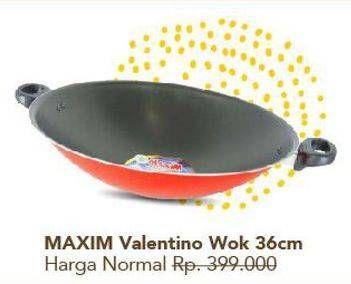 Promo Harga MAXIM Valentino Cookware Wok 36cm  - Carrefour