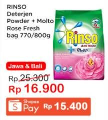 Promo Harga RINSO Anti Noda Deterjen Bubuk + Molto Pink Rose Fresh 770 gr - Indomaret
